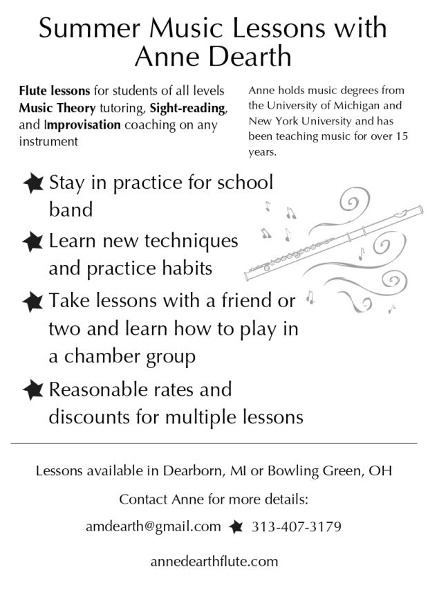 Anne Dearth Private Lesson Flyer